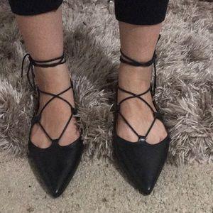 Top shop lace up flats size 9 black